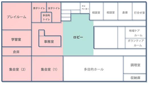 コミハ館内図、階段を上がって左側がコミハです